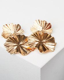 All Heart Flower Drop Earrings  Gold