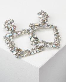 All Heart Square Drop Earrings Silver
