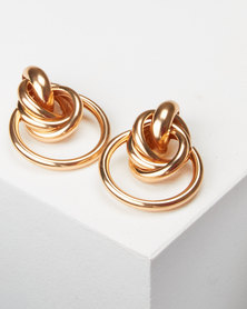 All Heart Door Knocker Drop Earrings Gold