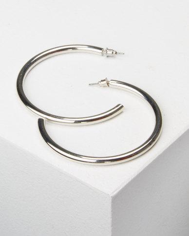 All Heart Plain Hoop Earrings Silver