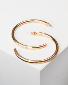 All Heart Plain Hoop Earrings Gold