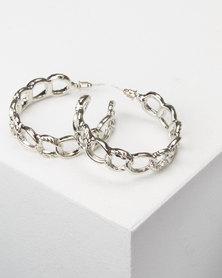 All Heart Link Hoop Earrings Silver