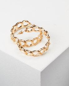 All Heart Link Hoop Earrings Gold