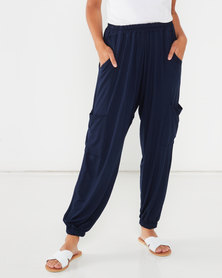 Michelle Ludek Hanna Elasticated Waist Cargo Style Pants Navy