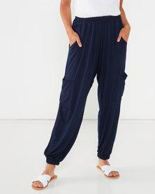 Michelle Ludek Hanna Elasticated Waist Cargo Style Pants Navy
