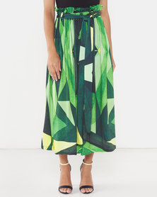 Michelle Ludek Geo Print Chloe Full Skirt Green