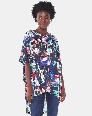 Michelle Ludek Tropical Print Ella Short Sleeve Hi Lo Top Multi