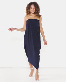 Michelle Ludek Billy Bardot Boobtube Asymmetrical Dress Navy