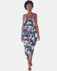 Michelle Ludek Tropical Print Billy Bardot Boobtube Asymmetrical Dress