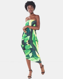 Michelle Ludek Geo Print Billy Bardot Boobtube Asymmetrical Dress Green