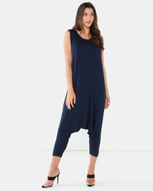 Michelle Ludek Lula Cropped Jumpsuit Navy