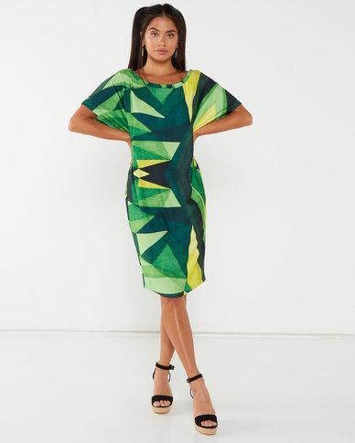 Michelle Ludek Geo Print Jackie Midi Dress With Sleeve Detail Green