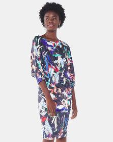 Michelle Ludek Tropical Print Stella Off Shoulder Midi Dress Multi