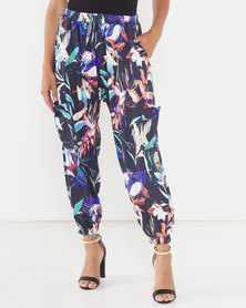 Michelle Ludek Tropical Print Hanna Elasticated Waist Cargo Style Pants Multi