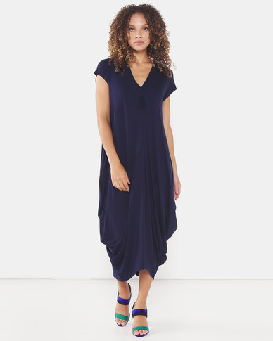 Michelle Ludek Sarah Ruched Front Midi Dress Navy
