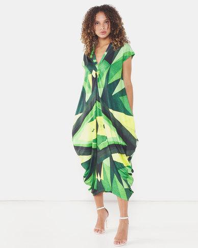 Michelle Ludek Geo Print Sarah Ruched Front Midi Dress Green