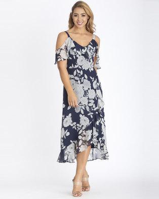 Contempo Multi Printed Wrap Midi Dress Navy