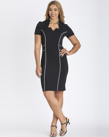 Contempo Cap Sleeve Piped Dress Black