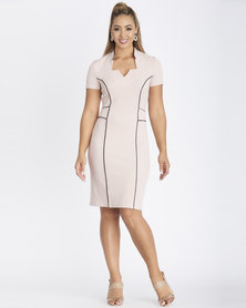 Contempo Cap Sleeve Piped Dress Pink