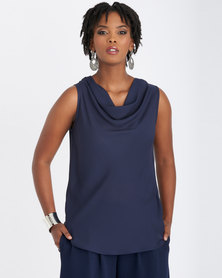 Contempo Cap Sleeve Cowl Neck Bias Top Navy
