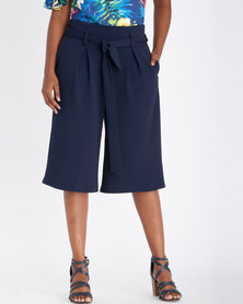 Contempo Cropped Wide Leg Pants With Tie Navy
