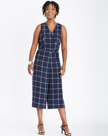 Contempo Multi Check Jumpsuit Navy