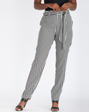 Contempo Striped Pull On Pant With Sash Ivory