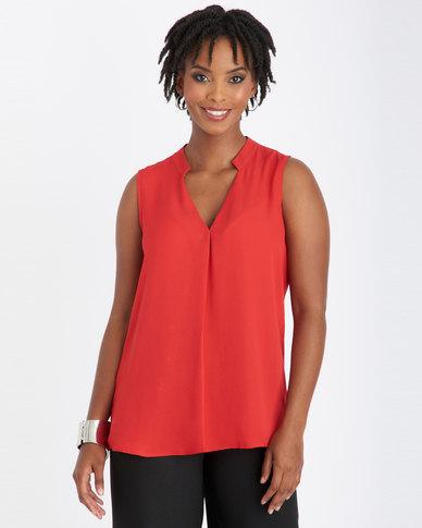 Contempo V-Neck Pleat & Collar Top Red