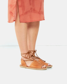 Gia by Queue Leather Lace Up Espadrilles Neutrals