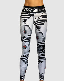 Vivolicious Wild Poppy Performance Tech Tights Long White Black