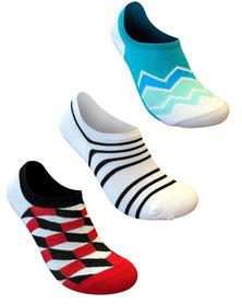 Undeez Stripes and Waves Sneaker Secret Socks 3 pack