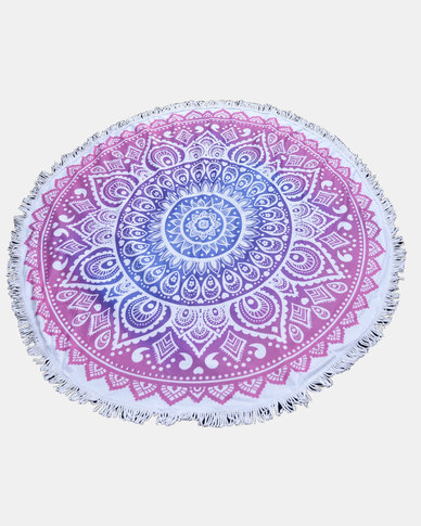 SKA Round Mandala Throw / Towel Pink & Blue