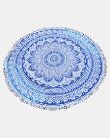 SKA Round Mandala Throw / Towel Blue & White