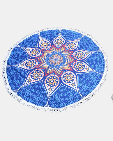 SKA Round Mandala Throw / Towel Dark Blue