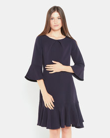 Closet London 3/4 Sleve Dress Navy