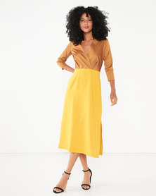 Closet London 3/4 Sleeve Wrap Slit Dress Mustard