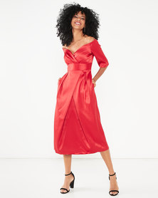 Closet London Pleated Bardot Dress Red