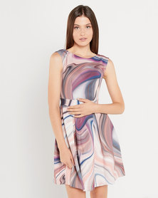 Closet London V-Back Pleated Dress Multi