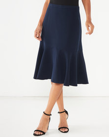 Closet London Flared Peplum Hem Skirt Navy