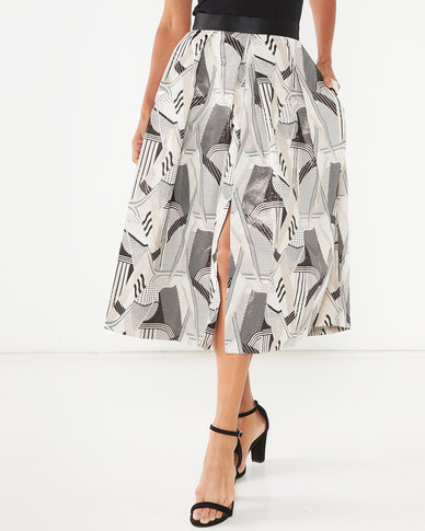 Closet London Pleated Midi Skirt Multi