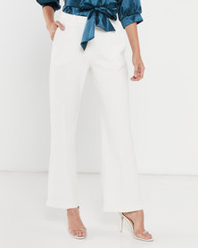 Closet London Wide Leg Flared Trousers Ivory