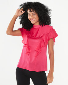 Closet London Frill Neck Blouse Pink