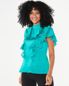Closet London Frill Neck Blouse Green