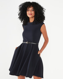Closet London Stand Collar Skater Dress Navy
