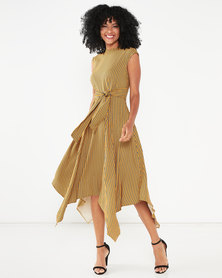 Closet London Handkerchief Point Hem Dress Mustard