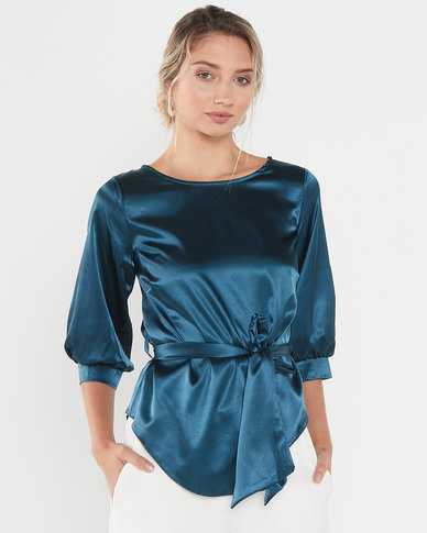 Closet London Puff Sleeve & Tie Blouse Teal
