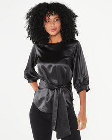 Closet London Puff Sleeve & Tie Blouse Black
