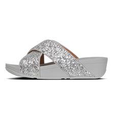 FitFlop Lulu Glitter Cross Slide Silver