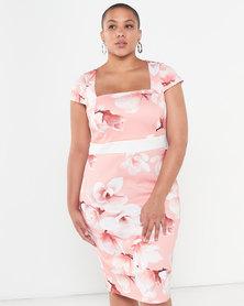 QUIZ Curves Floral Print Midi Dress Coral/Cream