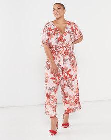 QUIZ Curves Floral Knit Jumpsuit Pink/Red